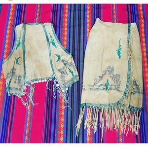 Vintage 1970's Hand Painted Suede Vest & Skirt